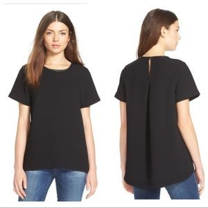 Madewell Small Leather Trim Tailored Tee Blouse